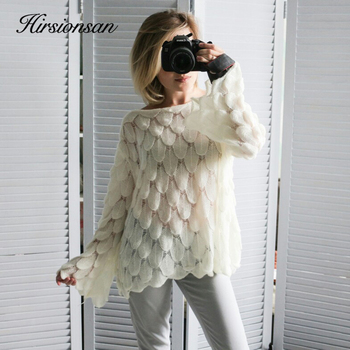 Hirsionsan Elegant Sweater Women 2019 Casual Fashion Loose Sweaters and Pullovers Cute 3D Pink White Jumper Sueter Mujer - discount item  33% OFF Sweaters