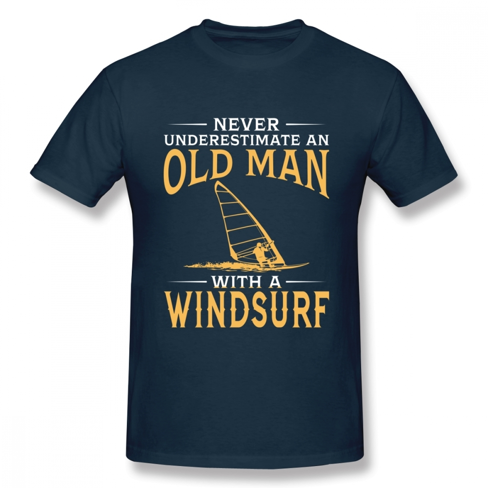 Never Underestimate An Old Man With A Windsurf T Shirt Boy Vintage T-Shirt Fashion New Arrival Casual
