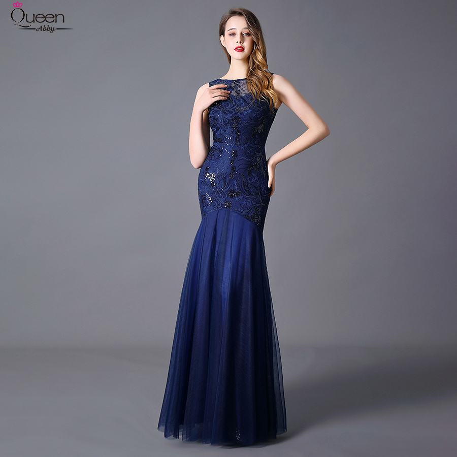 Plus Size Sequins Evening Dresses Long Embroidery Queen Abby Mermaid Sleeveless Women Lace Formal Party Gown Robe De Soiree 2020 3