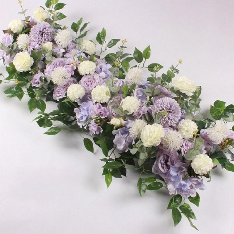 Fleur de soie avec Base en mousse fleur artificielle rangée hortensia Rose pour décoration de porte route de mariage cité fleurs fond de mur - 6