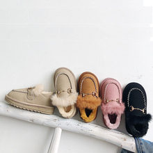 Children snow boots 2019 new girls plus velvet cotton shoes Children's princess winter shoes Little girl baby warm shoes(China)