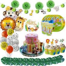 WEIGAO-vajilla desechable para fiesta de cumpleaños, decoración de Safari, jungla, León, mono, Tigre, fiesta de globos, copa de papel para fiesta