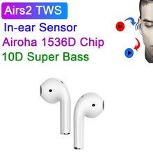 Airs2 tws chip 1536d bluetooth 5.0 fones de ouvido sem fio hd mic sensor lignt shaing áudio 9d super bass pk i500 i10 tws