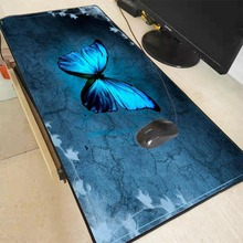 Mairuige Top Quality Light Blue Butterfly Locking Edge Large Mouse Pad Gamer Keyboard Mat Table Gaming Pads Desk