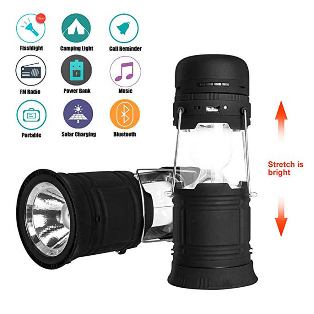 Rechargeable Camping Lantern LED Flashlights ,Included Bluetooth Speaker and FM 2200mah Power Bank Solar 5 in 1 Modes Speaker