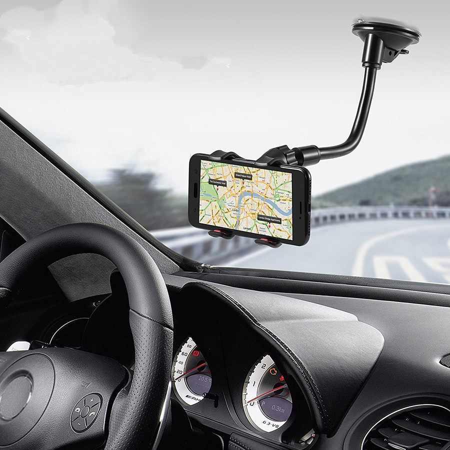حامل هاتف السيارة مرنة 360 درجة دوران جبل الزجاج الأمامي حامل هاتف المحمول سيارة دعامة حامل الهاتف لتحديد المواقع آيفون 11 X