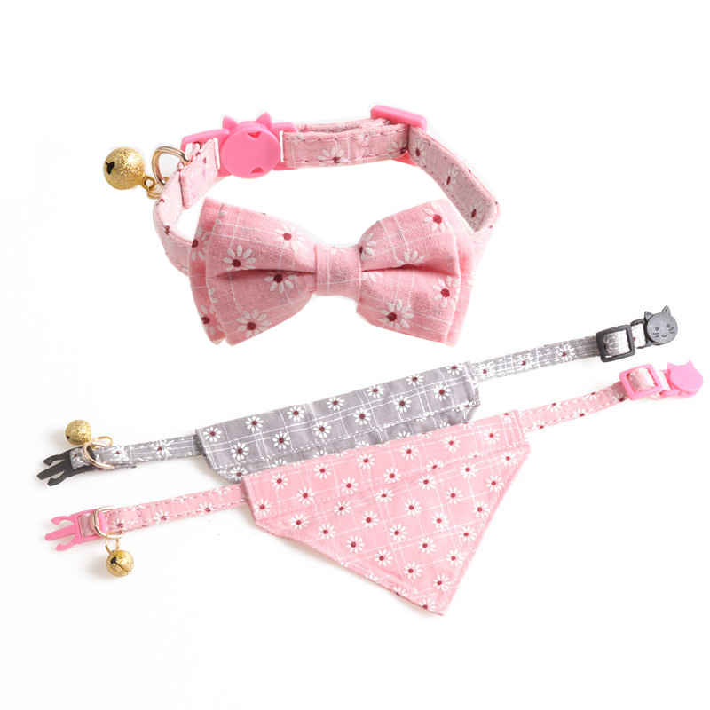 Cute Bowknot Pets Cat Collars Cotton Floral Bow Tie Kitten Bells Necklace Adjustable Puppy Cats Chihuahua Bandana Collar