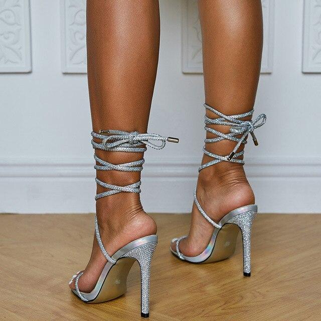 Sexy party women's shoes Rhinestone Roman bandage open toe High Heels Sandals fashion club women's high heels