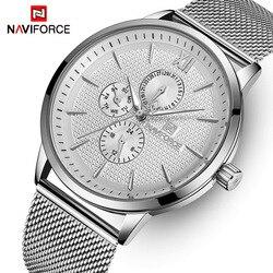 Męskie zegarki NAVIFORCE Top marka luksusowy wodoodporny Ultra cienki zegar męski pełny stalowy zegarek kwarcowy na co dzień mężczyźni sport Wrist Watch