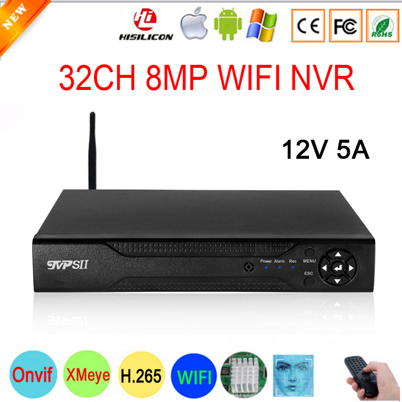 H 265  Audio Hi3536C XMeye Face Detection 32CH 32 Channel 4K 8MP Surveillance Video Recorder Max 8TB IP Onvif  WIFI CCTV DVR NVR