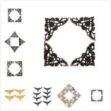 4-12 pièces boîte coin supports Antique Bronze protecteur décoratif pour couverture de cahier pour Menus Photo cadre meubles matériel