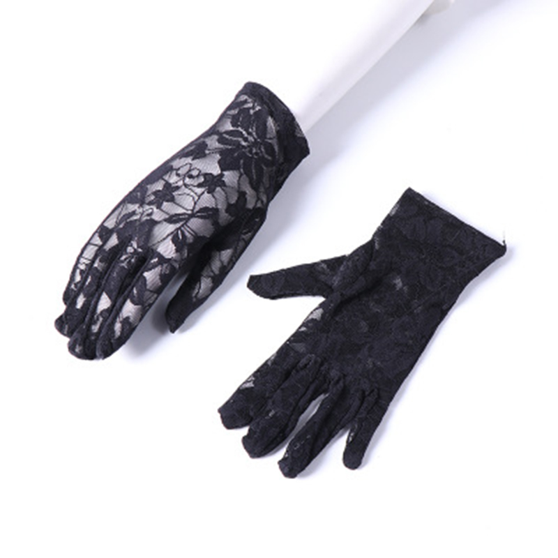 Elegant Women Ultra-thin Short Summer Driving Cycling Sexy Black Sunscreen Gloves Female Anti-UV Elasticity Lace Mesh Gloves H98