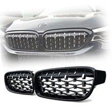 Rejilla delantera de riñón doble para BMW, accesorio de color negro con acabado de diamante, estilo de carreras, modelos Serie 3: F30, F31, 320i, 325i, 328i, 330i y 335i, años 2012 a 2018