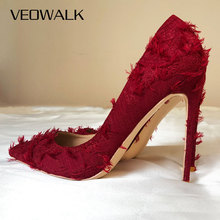 Veowalk Burgundy Women Distressed Tassels Fabric Stilettos High Heels Pointy Toe Pumps Chic Ladies Comfortable Dress Shoes