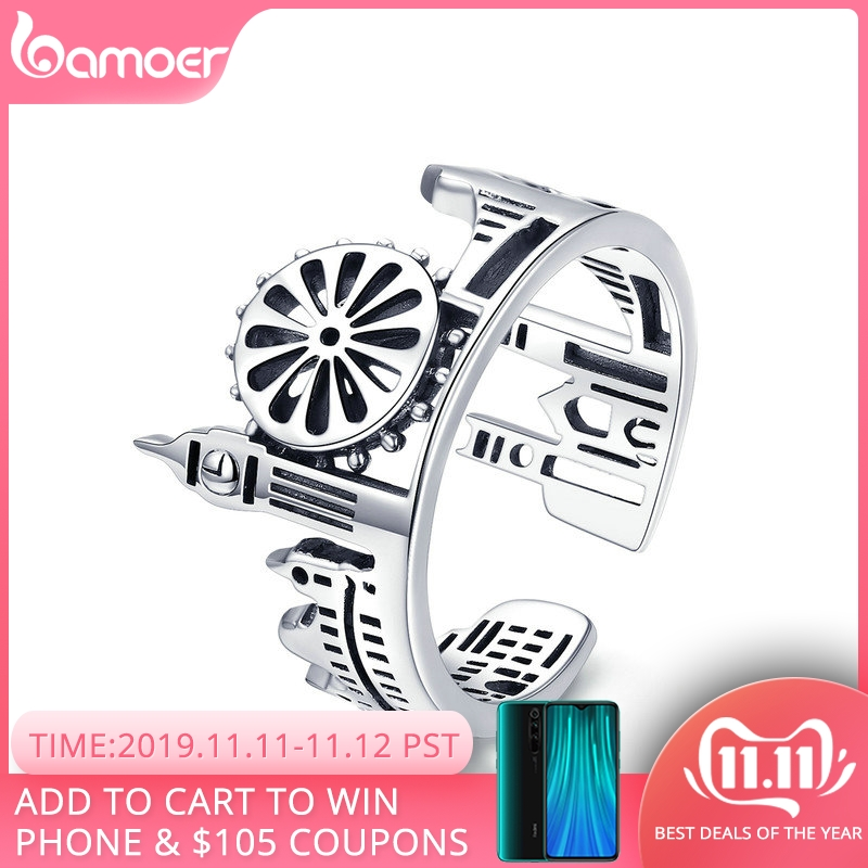 BAMOER High Quality 925 Sterling Silver London City Finger Ring British Building Rings for Women Cocktail Wedding Jewelry SCR474