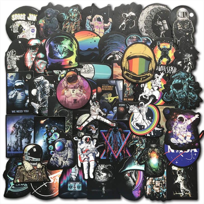 50PCS Cool Outer Space Stickers Toys For Children Alien UFO Astronaut Rocket Ship Planet Sticker To Skateboard Luggage Laptop