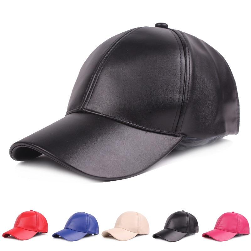 Women Men Hat PU Leather   Baseball     Cap   Visor Light Board Solid Men Hip Hop   Cap   Outdoor Sun Hat Adjustable Sports   caps