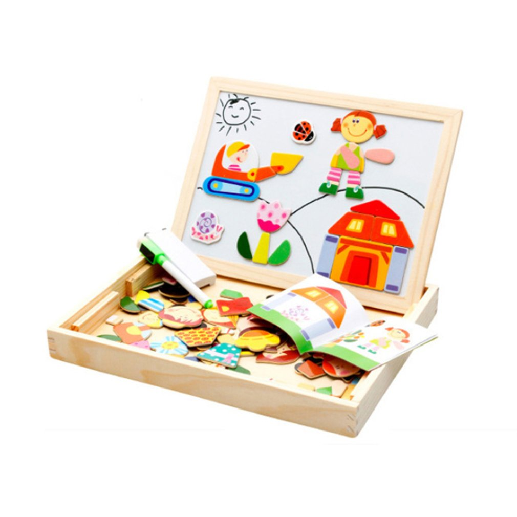Creative Drawing Writing Board Magnetic Puzzle Double Easel Kid Wooden Toy Sketchpad Gift Children Intelligence Education Toy