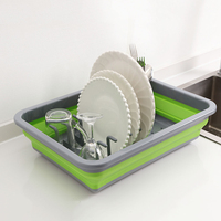 Foldable DIY Dish Rack Kitchen Storage Holder Drainer Bowl Tableware Plate Portable Drying Rack Home Shelf Dinnerware Organizer Racks & Holders     -