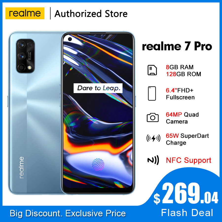 Смартфон realme 7 Pro RMX2170 NFC Global, 6,4 дюйма, 8 + 128 ГБ, 64 мп, 4500 мА · ч, Snapdragon 720G, 65 Вт