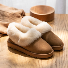 Snow-Boots Flat-Shoes Waterproof Mini Ankle Winter Women Fur Wool Shallow Lined Cow-Suede