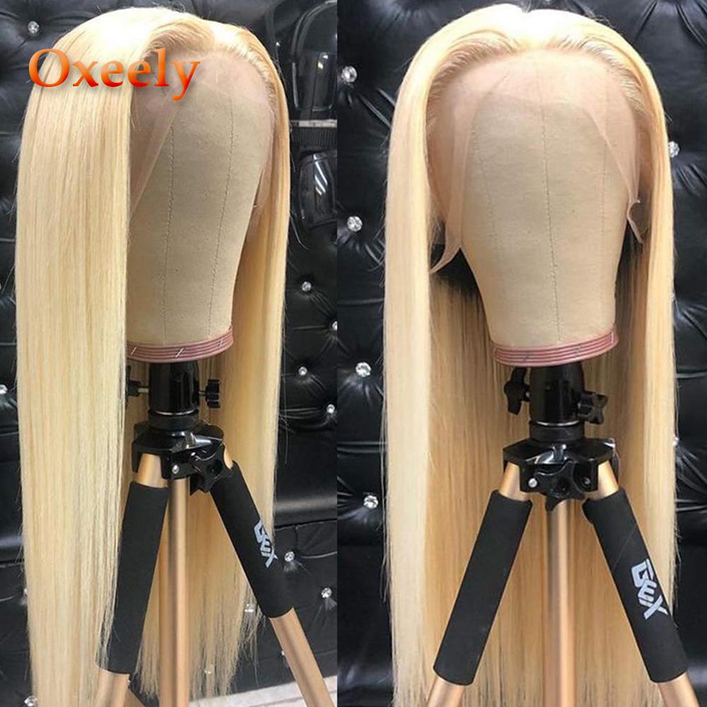 Oxeely Long Straight Lace Front Wigs #613 Hair Wig Heat Resistant Blonde Straight Synthetic Lace Front Wigs For Fashion Women
