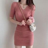 Koreanische chic temperament kleid zeigt dünne V-ausschnitt kleider schlank pit bar gesäß kleine schraube gewinde kühle seide gestrickte kleid weibliche
