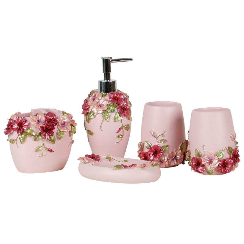Country Style Resin 5Pcs Bathroom Accessories Set Soap Dispenser/Toothbrush Holder/Tumbler/Soap Dish (Pink)-ABUX image