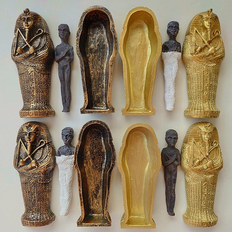 Egyptian King Pharaoh Sarcophagus Coffin With Mummy Figurine Statue Miniature Sandplay Decor Miniature Model Home Decoration
