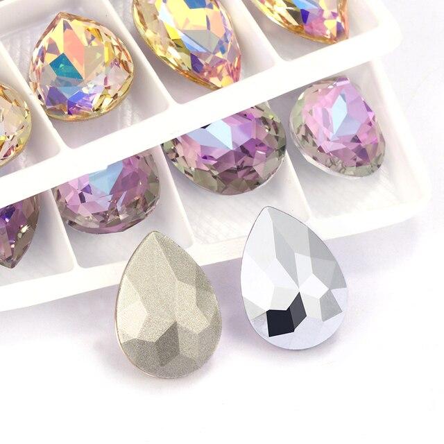 Glittery Colorful Tear Drop  K9 Glass Rhinestones Glass Crystal Pointback Rhinestones Glue on Garment Crafts Jewelry Accessories