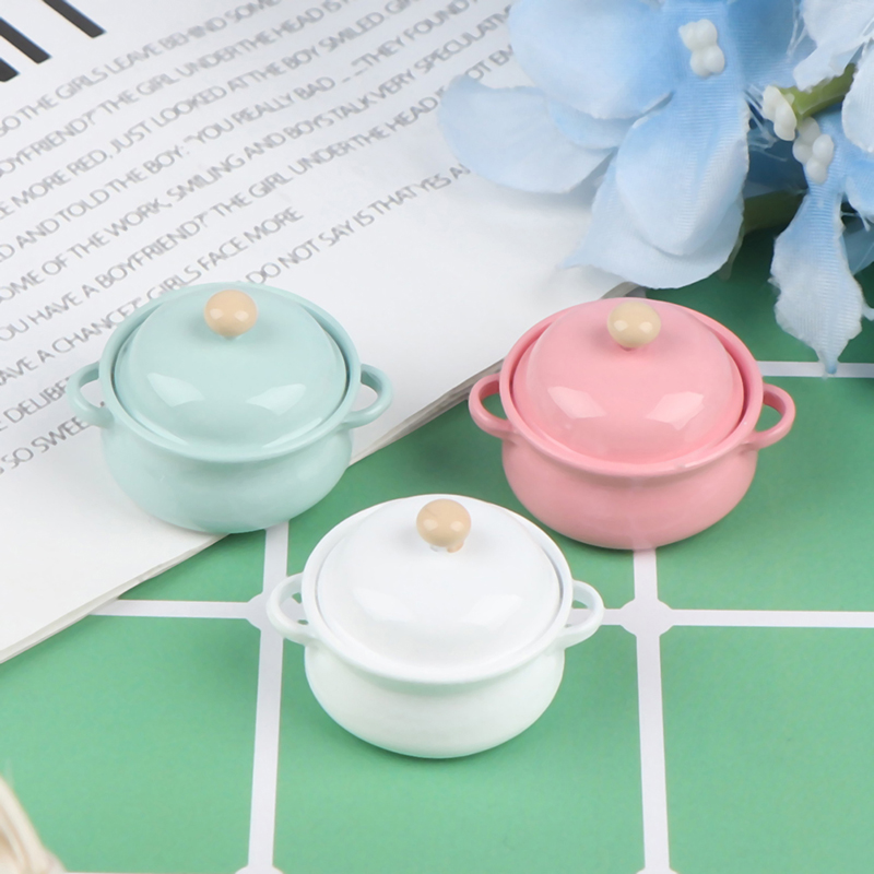 1Pcs 1 12 Dollhouse Miniature Accessories Mini Soup Pot with Food Simulation Kitchenware Model Toys for