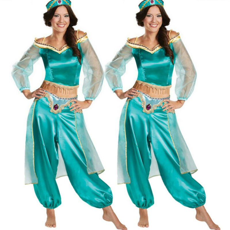 Plus Size Dress Pant Adult Cluewaer Aladdin Lamp Jasmine Female Party Princess Mesh Halloween Costume Party Cosplay