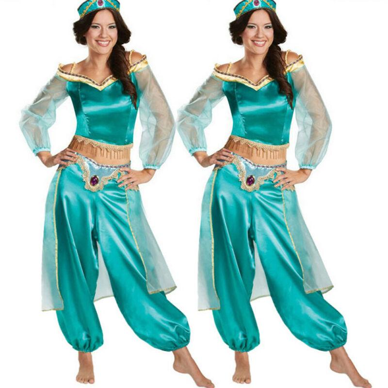 Plus Size Dress Pant Adult Cluewaer Aladdin Lamp Jasmine Female Party Princess Mesh Halloween Costume Party Cosplay