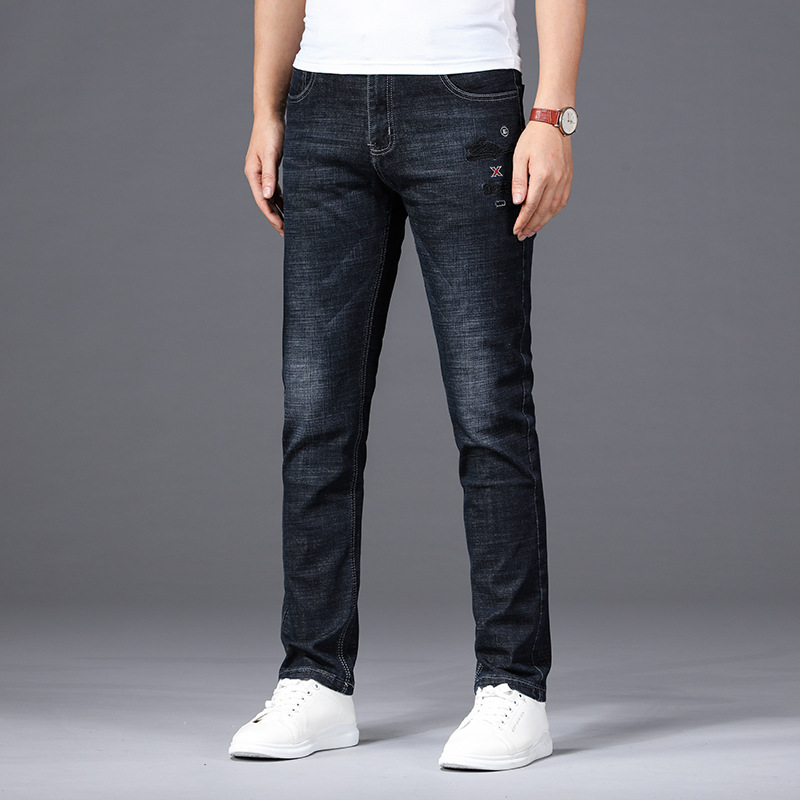 Summer New Products Jeans Men's Elasticity Slim Fit Straight-Cut Youth MEN'S Trousers Business Casual Thin Trousers