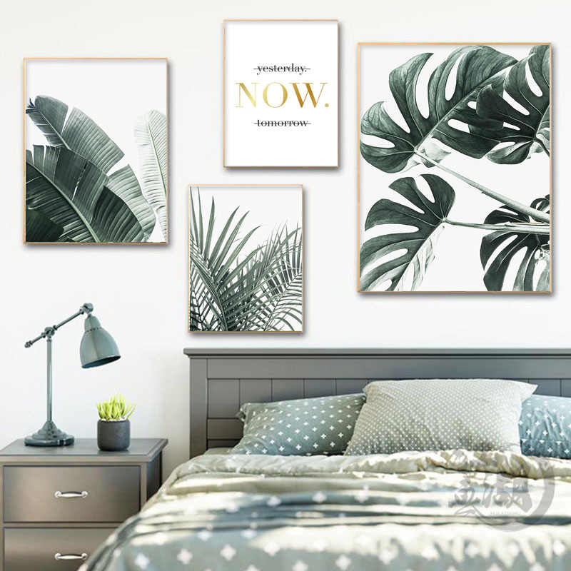 Scandinavian Green Leaf Plant Canvas Wall Art Poster Nordic Nature Print Painting Minimalist Decorative Picture Home Decor
