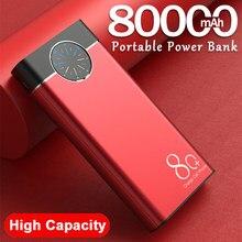 Chargeur portatif de batterie de puissance de 80000mAh grande capacité 2USB LED lampe batterie externe Powerbank pour Xiaomi IPhone Samsung