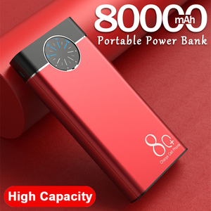 80000mAh Power Bank Portable Charger Large Capacity 2USB LED Lamp External Battery Powerbank for Xiaomi IPhone Samsung