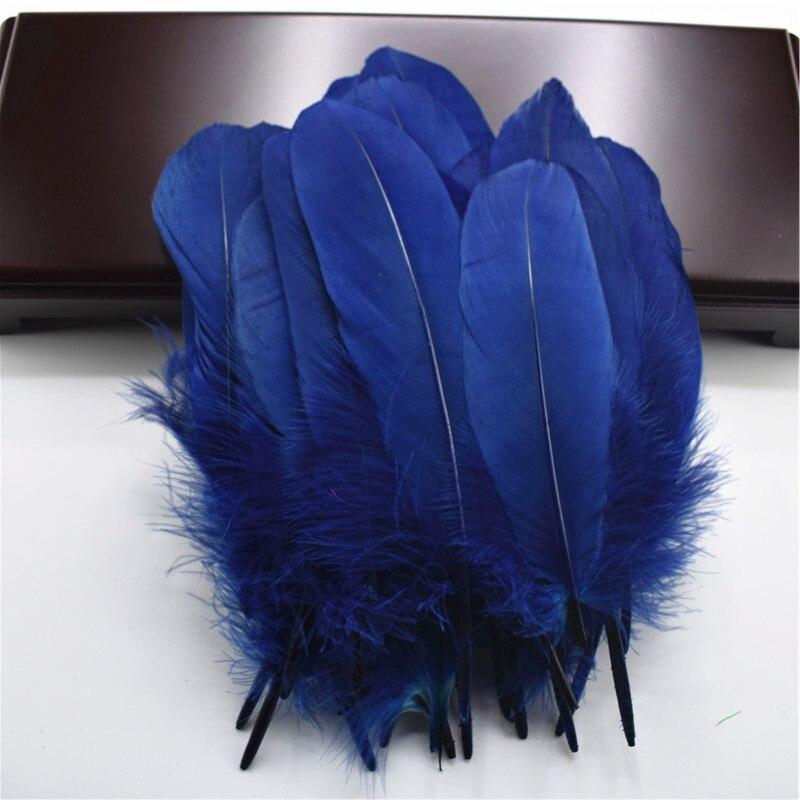 Жесткий полюс, натуральные гусиные перья для рукоделия, 5-7 дюймов/13-18 см, самодельные ювелирные изделия, перо, свадебное украшение для дома - Цвет: Navy
