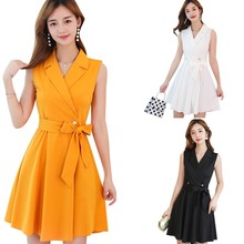 Office Lady A-Line Silhouette Bow Vest Dresses Summer Women Solid Casual Mini V-Neck Sleeveless Above Knee