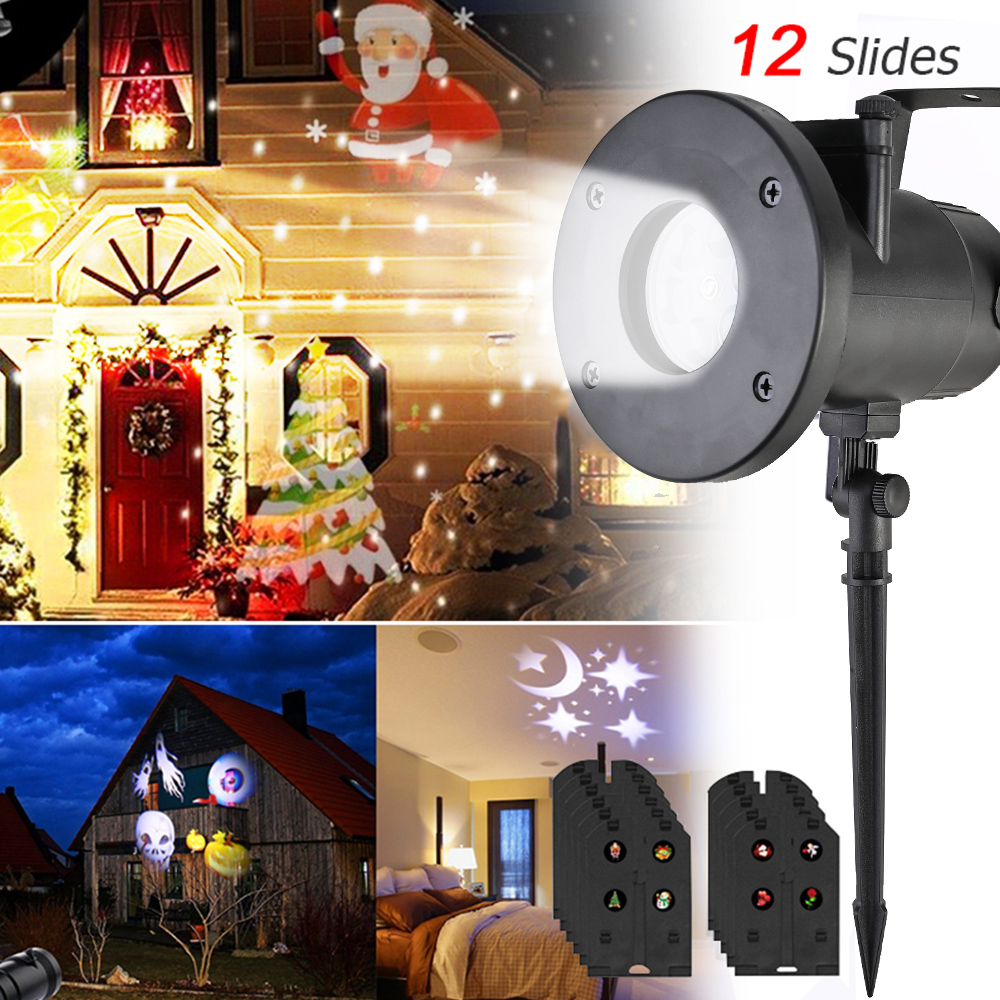 Image 2 - Anpro 12 Pattern Outdoor Waterproof LED Christmas Snowflake Projector Lamp Spotlight Birthday Halloween Wedding Projector Lights-in Holiday Lighting from Lights & Lighting