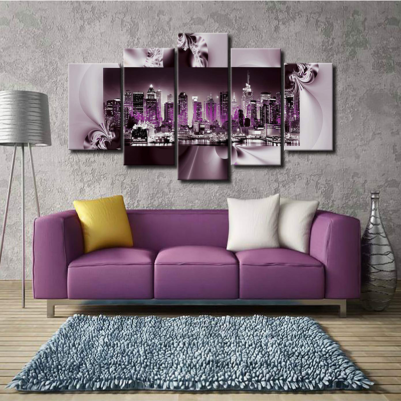 5 Pieces Poster New York City Night Scene Canvas Painting Wall Art HD Print Artwork Home Decor Living Room Decor Bedroom Decor