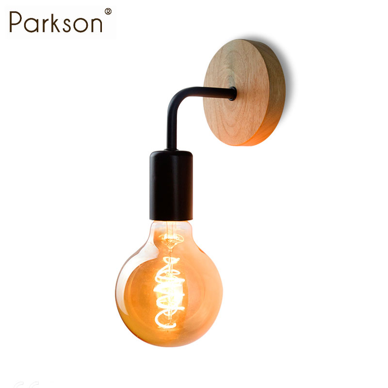 Wood wall lamp industrial decor sconce retro bedside wall lamp lampara pared vintage indoor wall lighting Fixture E27 110V 220V
