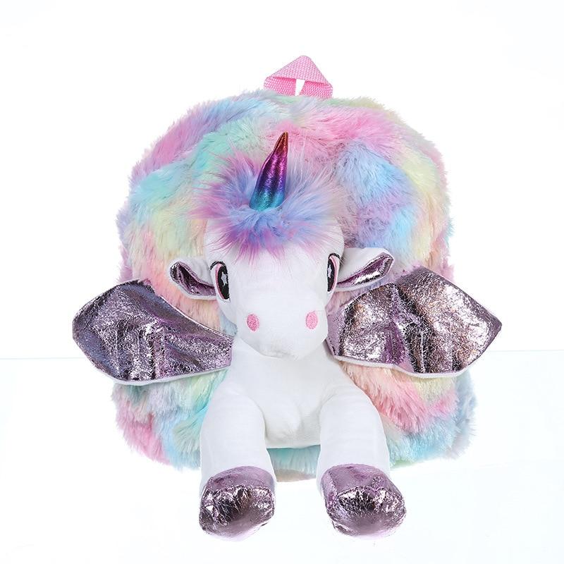 Baby Girl Unicorn Fur Backpack Cute Children Zipper Schoolbag Mini Kid Toy Doll Backpack For Kidergarten New Girl Plush Doll Bag 3