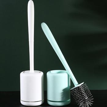 Gumowa nakrętka szczotka do wc szybkie opróżnianie czyste narzędzie do montażu ściennego i podłogowego szczotka do czyszczenia akcesoria łazienkowe tanie i dobre opinie CN (pochodzenie) Toilet brush Ściągaczka SHTB0001 Na stanie Ekologiczne 200g White Blue 9x42cm Wall-mounted and Floor-standing