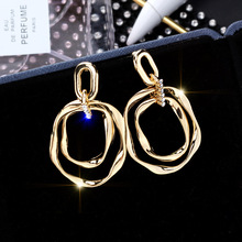 European and American geometric Metal Disc Earrings Korean temperament fashionable personality women geometry
