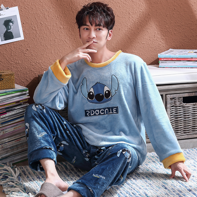 New Men Pajamas Set Warm Flannel Male Long-sleeved Blue Stich Pyjama Loose Men Home Set Coral Fleece Loose Sleepwear Top+ Pants