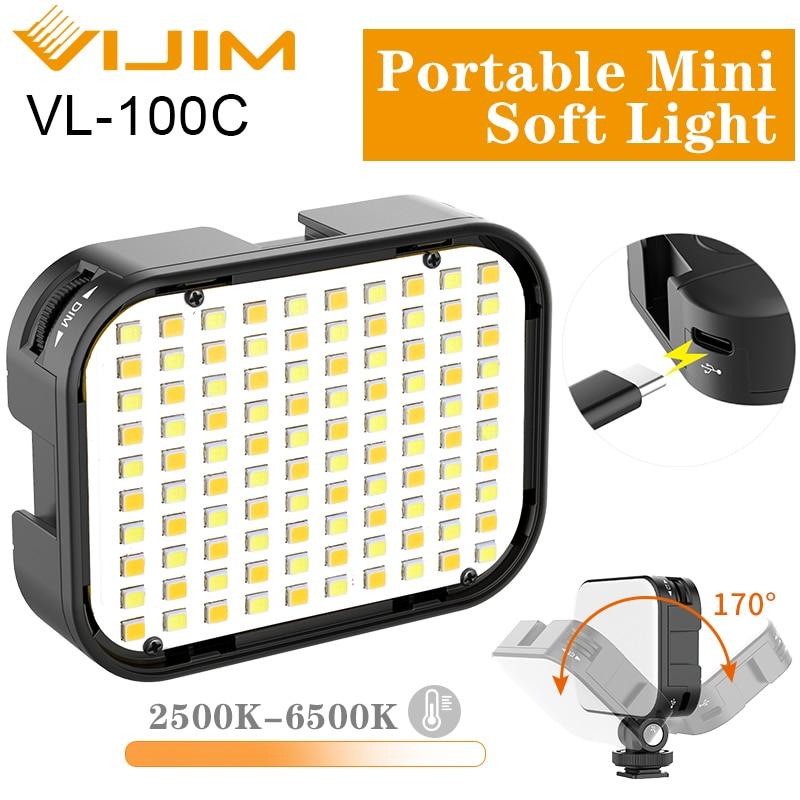 Ulanzi Vijim VL-100C Mini Soft LED Vlog Light Adjustable On Camera Fill Light 2500K-6500K Dimmable Light Live Youtube Lamp