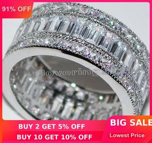 Image 1 - Choucong מלא נסיכה לחתוך אבן 5A זירקון אבן 10KT לבן גולדפילד אירוסין טבעת נישואים טבעת סט Sz 5  11 מתנה