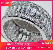Choucong princesa completa pedra de corte 5a zircão pedra 10kt ouro branco preenchido noivado anel de banda de casamento conjunto sz 5 11 presente