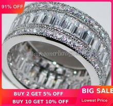 choucong Full Princess cut Stone 5A Zircon stone 10KT White Gold Filled Engagement Wedding Band Ring Set Sz 5 11 Gift